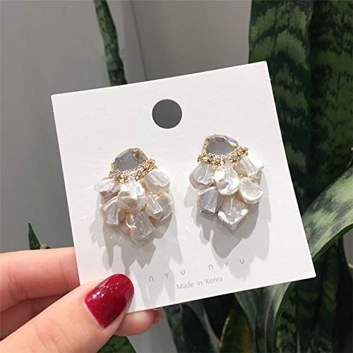 (PAPPET Pearl Stud Earrings Baroque Handmade Freshwater White Pearl Studs Earring Shiny Crystal Earrings Jewelry Fashion Gifts For Women & Girls)