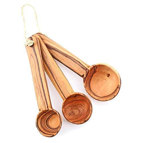 Set of Three Olive Wood Measuring Spoons