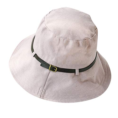 05c98b57 Women Cotton Belt Solid Color Fisherman Cap Foldable Bucket Hat Beach  Sunscreen Hat Cabbie Hunting Cap