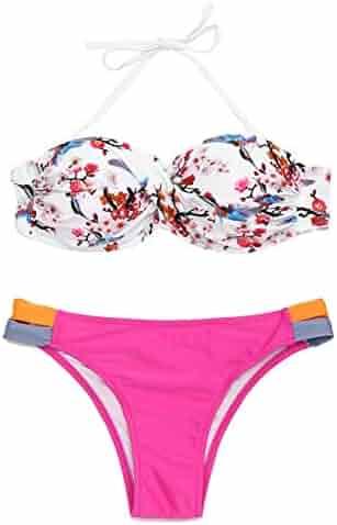 6cacb1668b3 tengweng Women's Sexy Solid Halter Padded Push Up Bikini Set Two Pieces  Swimsuit Swimwear Bathing Suit