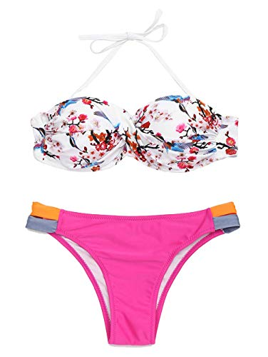 tengweng Women Fashion Halter Push Up Two Piece Bikini Swimsuit Floral Cutout Bathing Suit L ()