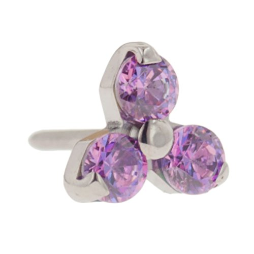 Steel Navel Body Jewelry Threadless Titanium Multi-Faceted Gem Trinity End: 18g High Polish, Fancy Purple Gems