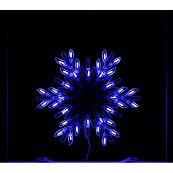 """Sienna Blue LED Lighted Snowflake Christmas Window Silhouette Decoration, 15"""""""