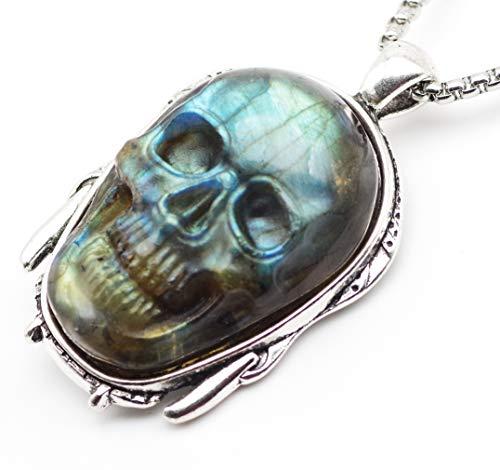 NATURSTON Mens Jewelry Gemstone's Carving Skull Pendant Necklace Natural Labradorite Indian Mask Back Biker Chain Keepsake (Skull-Pendant-L-03) ()