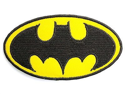 """BATMAN Classic Logo Iron On Sew On Embroidered Patch Approx: 3.2""""8.5cm x Approx: 1.7""""/4.7cm By MNC Shop"""