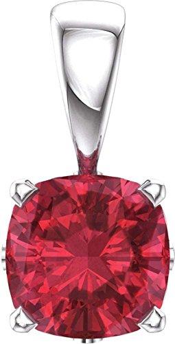 14k White Gold Chatham® Created Ruby Pendant