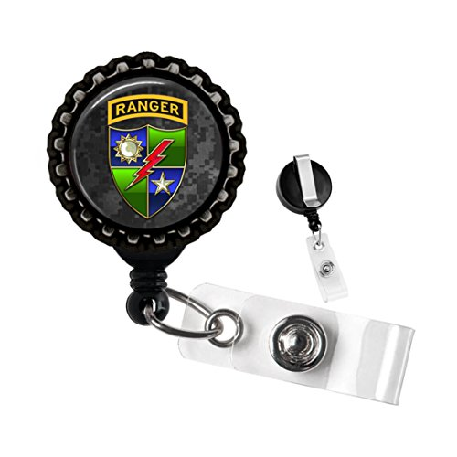 Army Ranger Black Retractable ID Tag Badge Reel by Geek Badges
