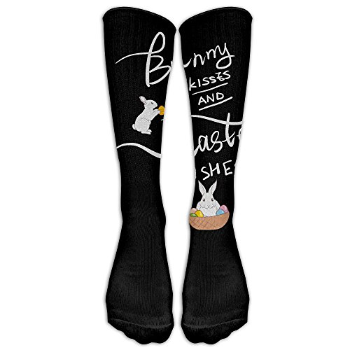ZHONGJIAN Unisex Knee High Long Socks Easter Bunny Kisses Happy Easter Wishes Cosplay High Long Stockings