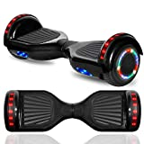"""CHO 6.5"""" inch Chrome Hoverboard Electric Smart Self Balancing Scooter with Built-in Wireless Speaker LED Wheels and Side Lights- UL2272 Certified (Chrome Black)"""
