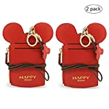 YIEASDA Travel Neck Pouch, Cute Small Fashion Student ID Card Case Holder Coin Wallet Purse for Women/Girls/Children (Red 2pack)