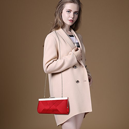 Bidear Satin Evening Bag Clutch, Party Purse, Wedding Handbag with Chain Strap for Women Girl (Red) by Bidear (Image #2)