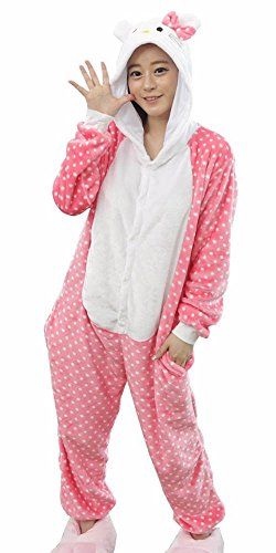 Jadeys Children's Animal Costume Onesies Sleepers Pyjamas (Hello Kitty, Small)