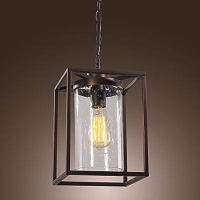 LightInTheBox Retro Pendant Light with Factory Style Glass Shade Modern Home Ceiling Light Fixture Flush Mount, Pendant Light Chandeliers Lighting Lantern, Voltage=110-120V