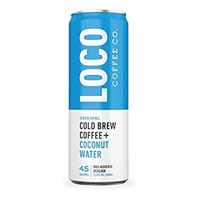Cold Brew Coffee + Coconut Water (4 12 fl. oz. cans)   Loco Coffee   Gluten & Dairy Free   Clean Energy & Low Acidity   No Added Sugar   Caffeine + Electrolytes   No Refrigeration Required