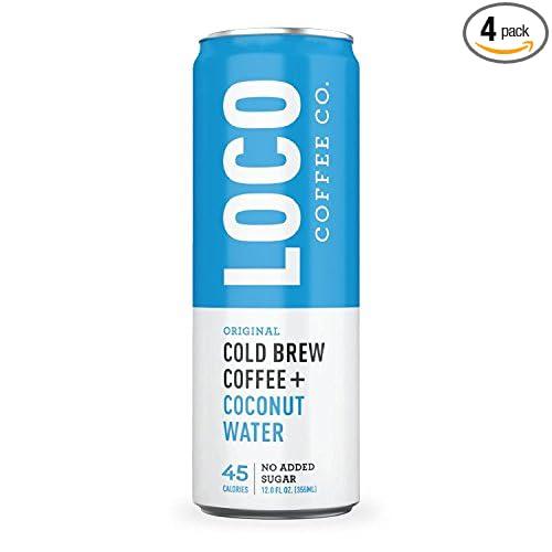 Loco Coffee (4 12 fl. oz. cans) | Cold Brew Coffee + Coconut Water | No Preservatives | No Added Sugar | Caffeine + Electrolytes