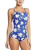 BALEAF Women's Foral Print Modest Swimsuit One Piece Bathing Suit Swimwear Athletic Training Print Blue 32