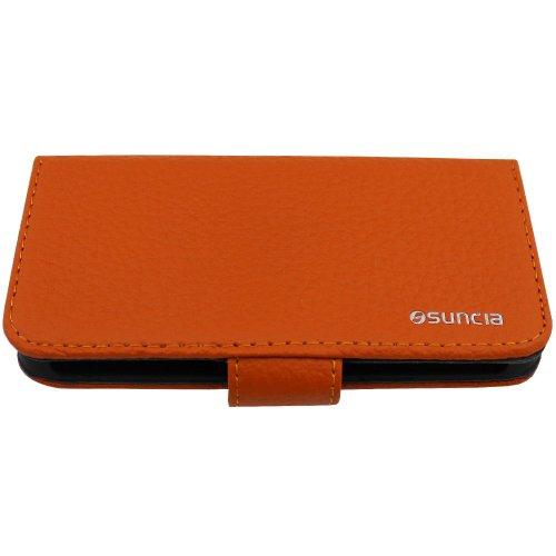 Suncia PREMIUM Leather2 Case / Cas en Cuir / Leather cover / Cas / Etui / Coque pour Apple iPhone 5/5S Classique Orange