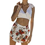 Pinleg Fashion Womens Mid Waist Printed Pants Casual Loose Beach Body Enhancing Shorts