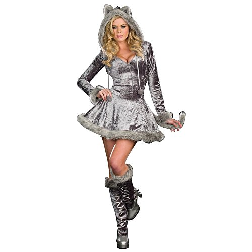 [Dreamgirl Women's Sexy Bad Wolf Zip Front Velvet Dress, Gray, 1x/2x] (Wolf Costume Halloween Express)