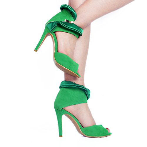 Handmade Heel Suede Toe Party Zapatos Summer D'Orsay Sandalias baile Kolnoo Ladies Verde de High Peep 5TqFS