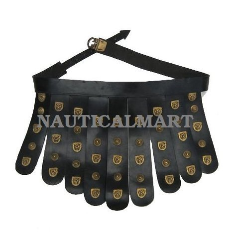Gladiator Belt - NauticalMart Roman Leather Apron Belt Brass Fittings - Cingulum - Wearable Costume Armor
