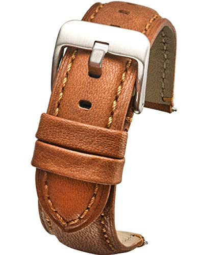 Padded Soft Genuine Waterproof Leather Watch Band - 22mm - tan