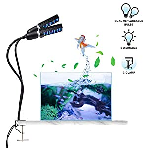 Bozily Aquarium Light for Coral Reef Aquatic Plants Growth Saltwater Freshwater, LED Desktop Fish Tank Light with 4 Dimmable Levels, Replaceable Bulbs and Strong Clamp 4