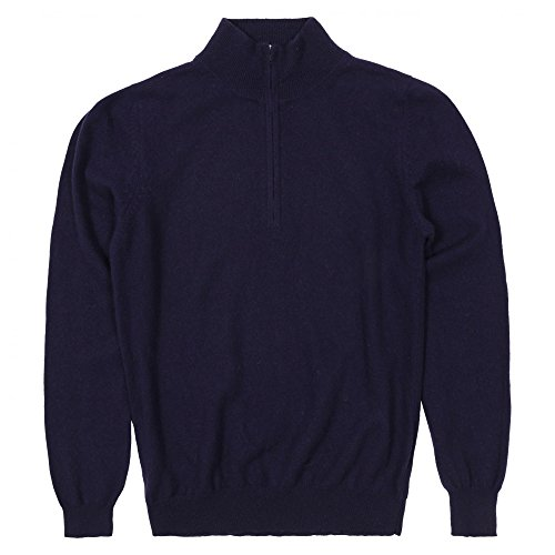 cashmere Men's Half Zip Sweater Small Navy (Cashmere Half Zip Sweater)