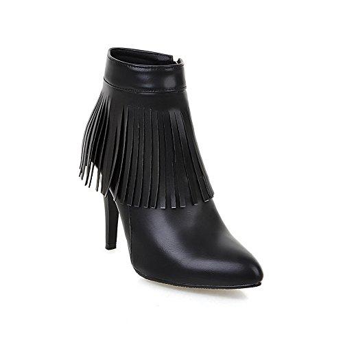 Boots Imitated Stiletto Womens Pinker Tassels Black Winkle Leather BalaMasa wqF0ZXAZx