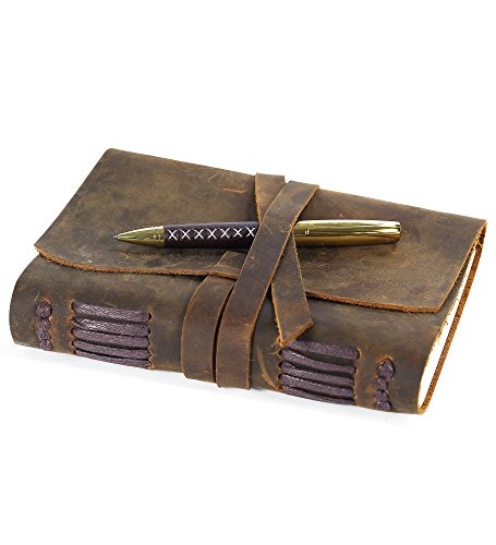 Leather Journal Writing Notebook, Vintage Handmade Leather-Bound Notepads...