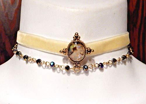 Shaped Narrow Oval Natural (CREAM BEAD VELVET CHOKER art deco nouveau Flapper 1920s Great Gatsby Necklace)