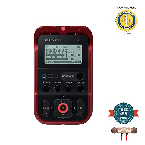 - Roland High-Resolution Handheld Audio Recorder Red (R-07-RD) includes Free Wireless Earbuds - Stereo Bluetooth In-ear and 1 Year Everything Music Extended Warranty