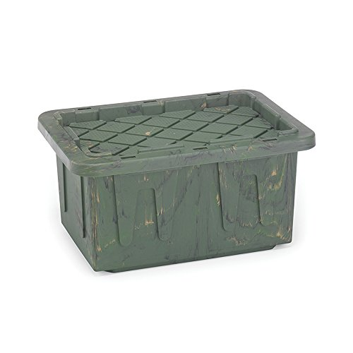 Homz Durabilt Tough Storage Tote Box, 15 Gallon, Camo With Lid, Stackable, 6-Pack -