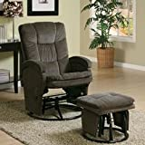 Recliners with Ottomans Collection 600159 Chenille Fabric Glider Recliner with Swivel Base and Ottoman Included in Chocolate