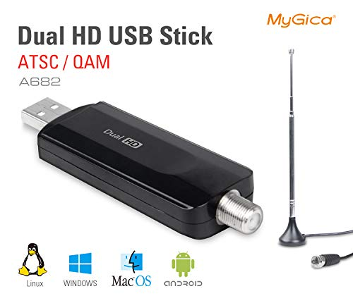 MyGica Dual Tuner Digital ATSC QAM USB 2.0 TV Tuner Stick - Watch Live TV in Full HD with Mini TV Antenna/PIP, Support Windows, Linux, Mac and Android TV