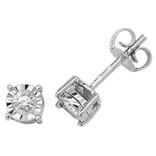Lot de boucles d'oreilles clous Illusion Diamant Or Blanc 9ct hpk20,20ct