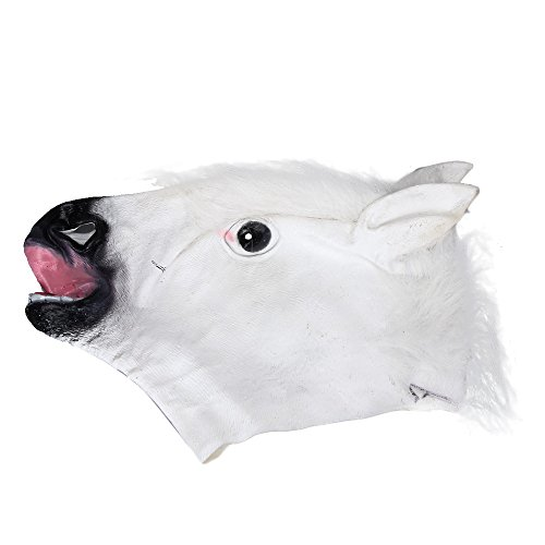 Sayolala Cat Head Costume Halloween Party Horse Latex Mask Purge Mask Ebay Scary Bear Mask Latex Halloween Costumes White]()
