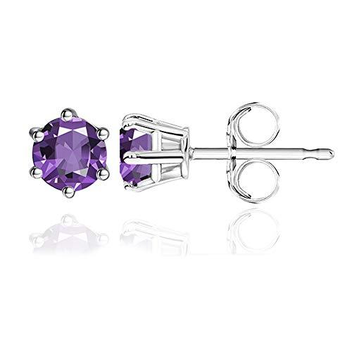 DOMEI Sterling Silver Stud Earrings Cubic Zirconia, Hypoallergenic Diamond Stud Earrings, Cubic Zirconia Earrings Studs for Women (Purple)