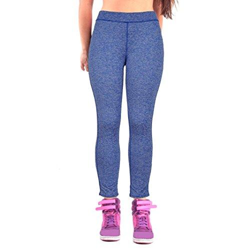 HARRYSTORE Mujer Pantalones elásticos de yoga Mujer Pantalones deportivos elásticos y cómodos mujer Polainas Leggings Azul