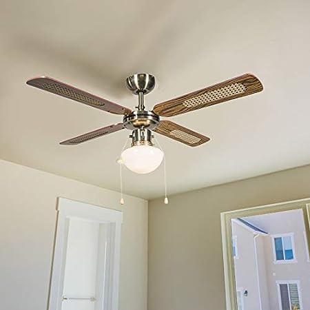 QAZQA Retro/Vintage Ventilador de techo industrial con lámpara 100 cm madera - Wind/Acero Redonda Adecuado para LED Max. 1 x 60 Watt