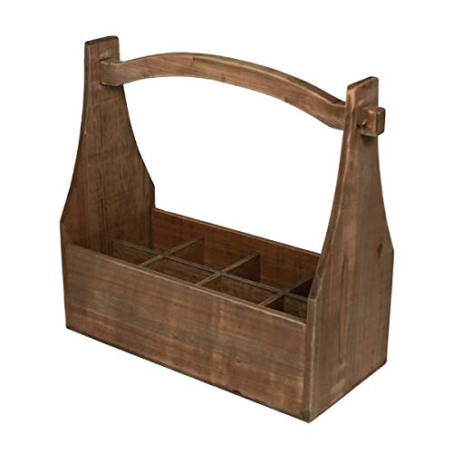 Basket Bins 8 Compartment Storage with High Handle - Hand-Crafted Wood Storage Crate - Brown by Basket Bins (Image #2)
