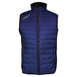 2015 PROQUIP Full Zip Therma Tour Quilted Vest Insulated Mens Golf Gilet Black/Blue XL