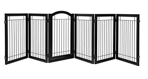 (PAWLAND 144-inch Extra Wide 36-inch Tall Dog gate with Door Walk Through, Freestanding Wire Pet Gate, Dog Gate for The House, Doorway, Stairs, Pet Puppy Safety Fence, Espresso)