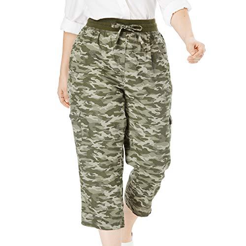 Woman Within Women's Plus Size Convertible Length Cargo Capri Pant - Green Camo, 22 W