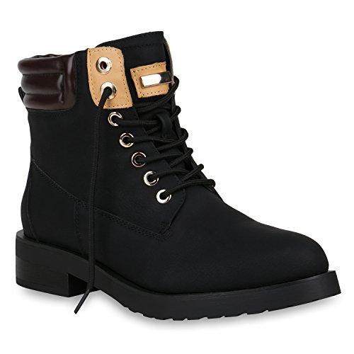 Stiefelparadies Damen Worker Boots Leicht Gefütterte Outdoor Schuhe Profilsohle Flandell Schwarz Metallic Amares
