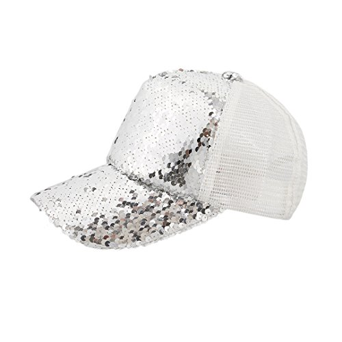 Surkat Unisex Shiny Sequin Baseball Cap Adjustable Snapback Baseball Hat Casual Mesh Sunhat(Silver&White)