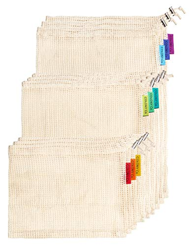 (Colony Co. Reusable Produce Bags, Natural Cotton Mesh is Biodegradable, Recyclable Packaging, Machine Washable, Durable, Double-Stitched Seams, Tare Weight on Label, Set of 9,)