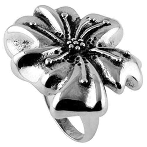 JewelryVolt Stainless Steel Ring Cocktail Hibiscus Polished & Oxidized Casting (Flower - Flower Ring Hibiscus