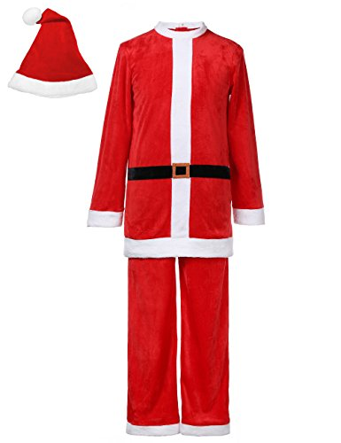 Felove Men's Christmas Santa Claus Suit With Hat Adult Costume ()