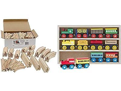 Wooden Train Track Set 52 Piece Pack + Wooden Train Set 12 PCS - Train Toys Magnetic Set Includes 3 Engines
